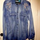 Men's Roar Signature Long  Sleeve Button Up Shirt Size Large