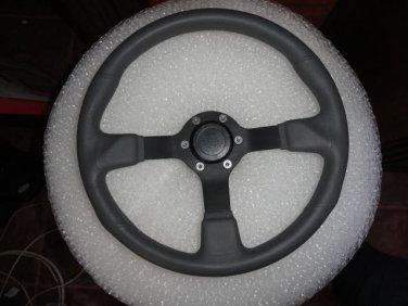 Gussi Boat Steering Wheel M521 Grey Urethane Black Spoke & Polished Alum Hub
