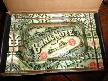 "Lost Art crystal acid  ashtray new in the box "" Bank Note"""