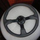 New Gussi Boat Steering Wheel M521 Grey Urethane Black Spoke & Black Hub Adaptor