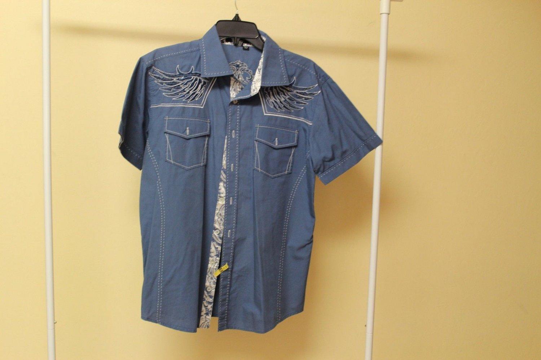 Men's Victorious Los Angeles Blue Short Sleeve Button Up Shirt Size Medium
