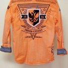 Roar Orange Long Sleeve  Button Down Large