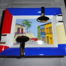 Elie Bleu Casa Cubana Porcelain Ashtray with Gold Plated rests