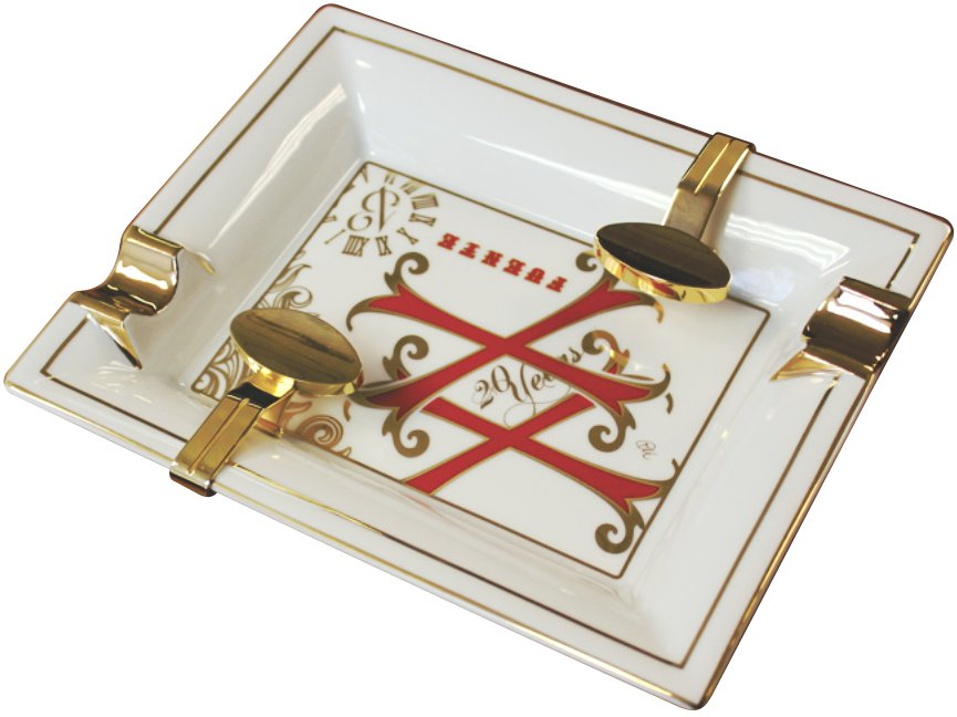 Fuente OpusX White Ltd Edition Porcelain  Ashtray with Gold Plated  Rests