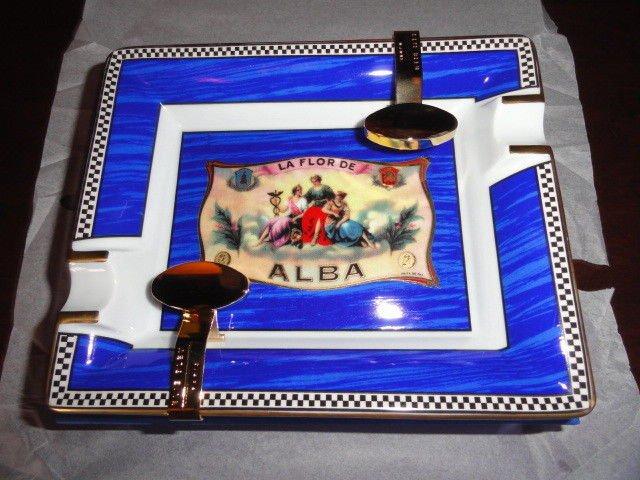 Elie Bleu Alba Porcelain Blue Ashtray with Gold Plated Rests