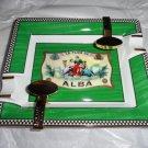 Elie Bleu Alba  Green  Porcelain Ashtray