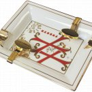 Fuente OpusX White Ltd Edition Porcelain  Ashtray with Gold Plated Cigar Rests