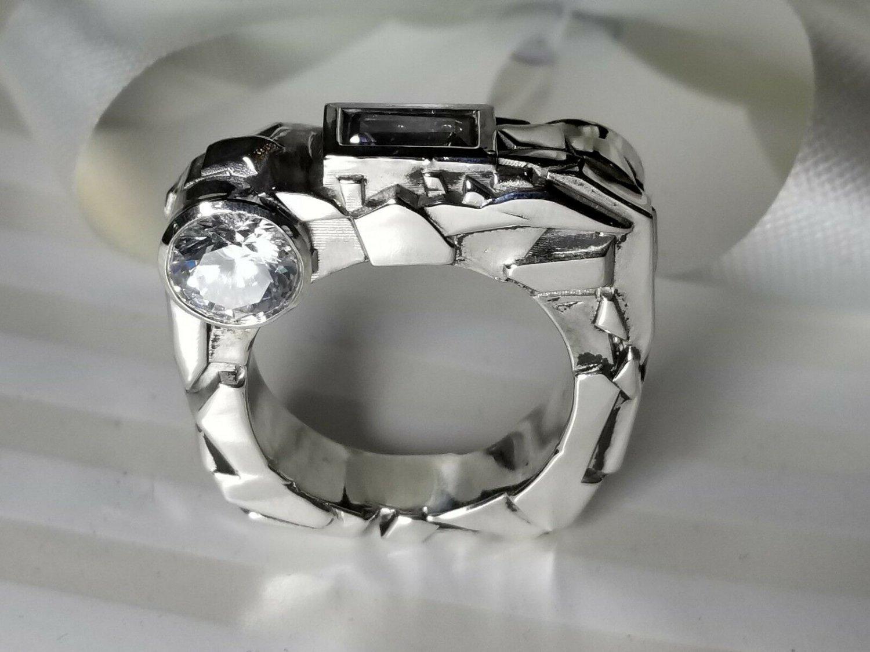 "Custom designed ""Rock"" Solid Silver Ring"