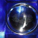 "etched logo metal platter 15"" diameter in the box"