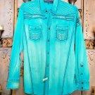 Roar Teal Signature Long  Sleeve Button Up Shirt Size Medium