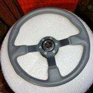 New Gussi Boat Steering Wheel Grey Urethane Black Spoke & Black Hub Adaptor