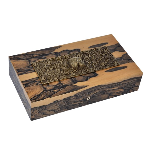 Elie Bleu Think Royal Ebony with inlaid Bronze Skull Limited Edition 110 count Humidor