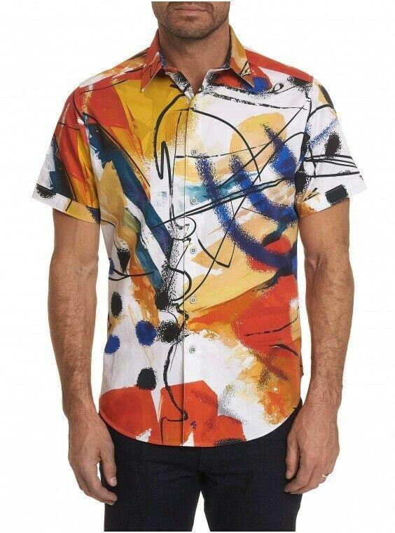 Robert Graham Broad Ave Short Sleeve Printed Sport Shirt Classic Fit Large