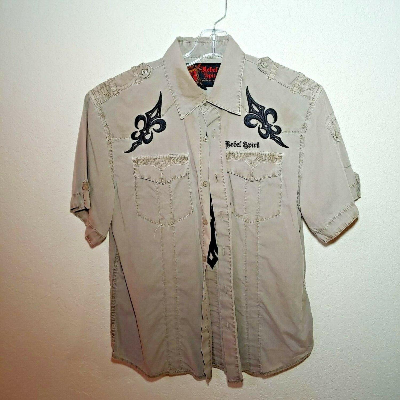 Rebel Spirit  Gray  Men's Large Button-Down Long sleeve Shirt