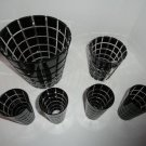 "Faberge Metropolitan Black Crystal Buckets with 8 tall 6"" glasses"