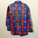 Roar | Men's Plaid Long sleeve Button down Casual Shirt | Medium