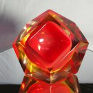 Sommerso Murano | Flavio Poli Yellow & Red Faceted Glass Ashtray | Italy 1950s