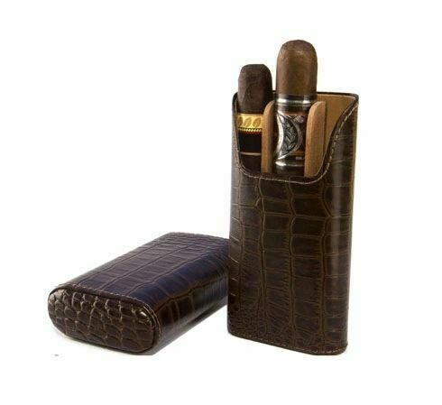 "The ""Show Band"" 3 Cigar Case - Croco Pattern Tobacco"