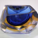Blue & Yellow Murano Sommerso Faceted Art Glass Ashtray | Alessandro Mandruzzato