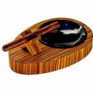 """Bizard and Co. - The """"Deck"""" Ashtray Oval (Single) - Zebrawood"""