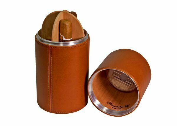 Bizard and Co. - The Cylinder Desk Humidor - Tan Leather