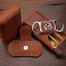 "Brizard and Co  ""Show Band"" 3 Cigar Case & Cutter Combo  - Lizard Pattern -USA"