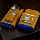 Brizard Show Band Case , Cutter and Lighter Combo- Blue Ostrich & Camel Leather