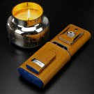 """Bizard and Co. - """"Show Band"""" 3 Cigar Case - Blue Ostrich and Camel Color Leather"""