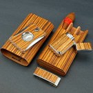 """Brizard The """"Show Band"""" 3 Cigar Case ,,Cutter and Lighter Combo - Zebrawood USA"""