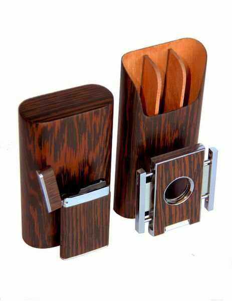 "Brizard and Co The ""Show Band"" 3 Cigar Case, Cutter and Lighter Combo - Wenge"