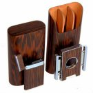 """Brizard and Co The """"Show Band"""" 3 Cigar Case, Cutter and Lighter Combo - Wenge"""