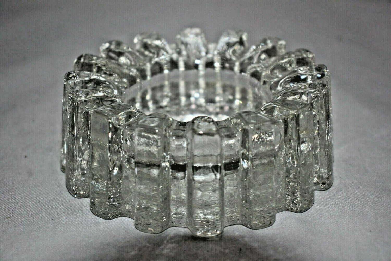 "Modern Heavy Glass Sprocket  Ashtray 4"" Diameter by 2"" H with"