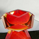 Sommerso Murano | Flavio Poli Yellow & Red Faceted Glass Ashtray | Italy