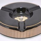 "Trinidad Maduro Black and Gold Porcelain Large Size Ashtray 9.5"" Diameter"
