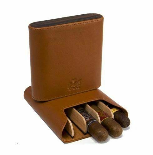 "Brizard and Co. - The ""Show Band"" 5 Cigar Case - Sunrise Tan and Macassar Ebony"