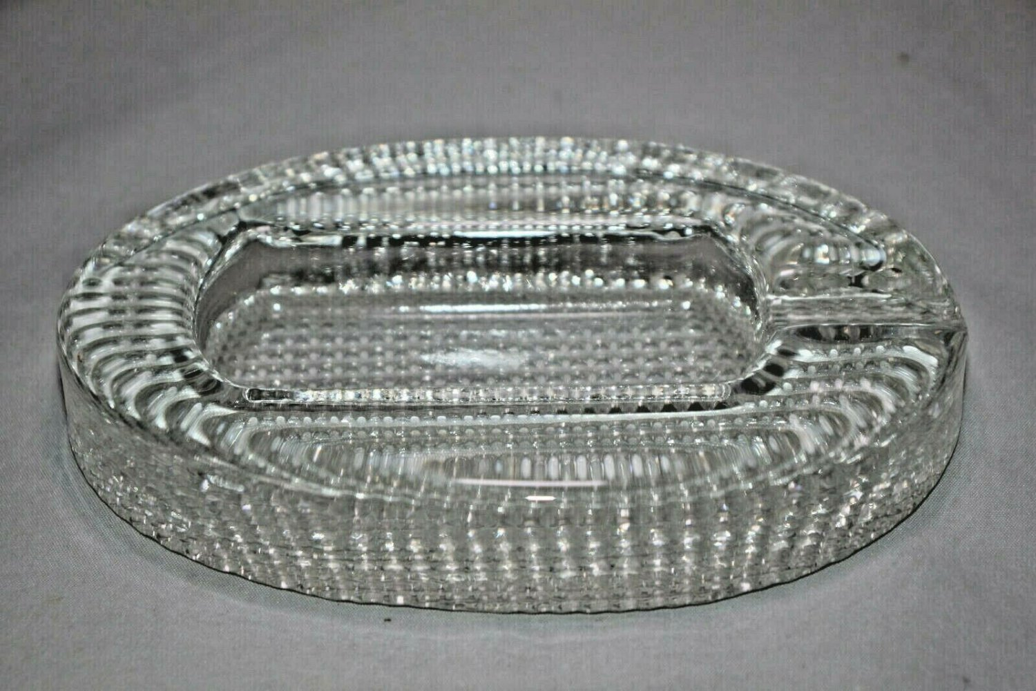 Comoy's of London Clear Crystal Heavy Glass Ashtray made in Italy