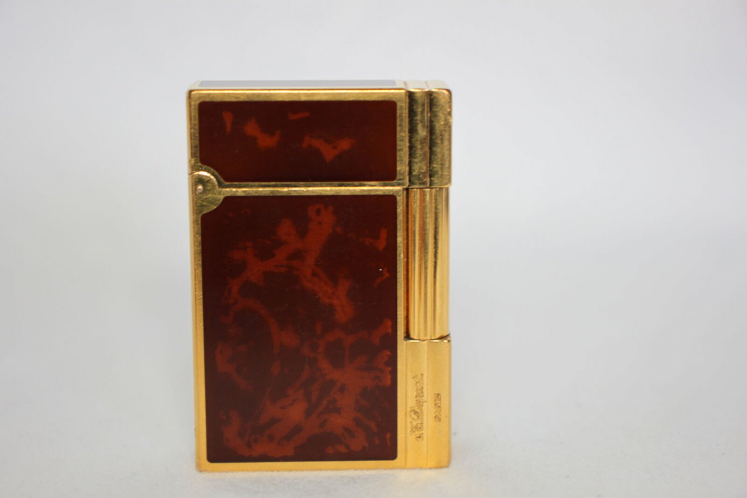 S.T. Dupont Ligne 2 Lighter, Chinese lacquer, Gold trim, Brown