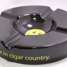 """Cigars International Oversized Black Smile Face Ashtray Measures 10"""" wide by 2"""""""