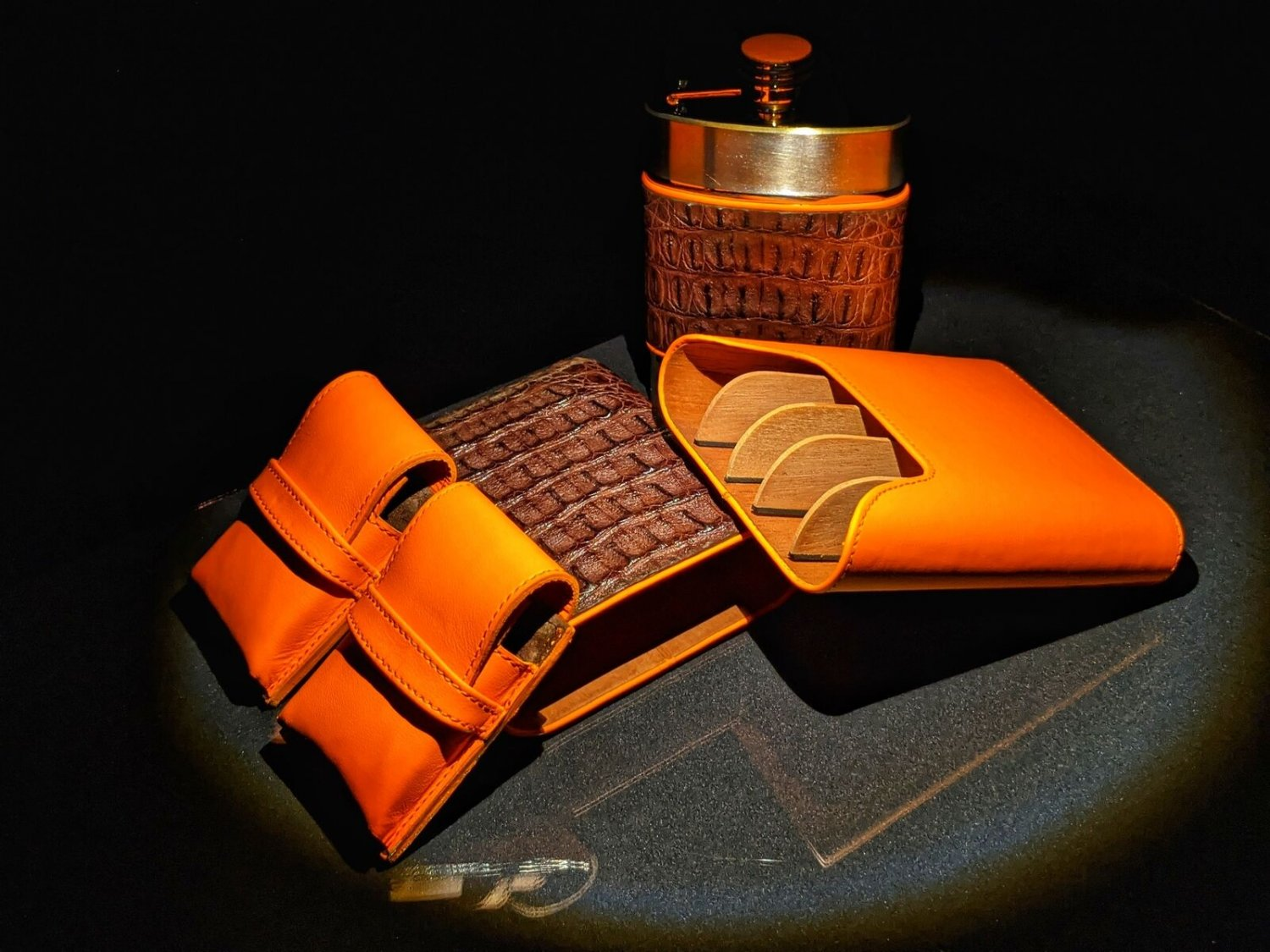 Brizard and Co Brown Caiman and Orange Leather Traveler