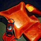 Brizard and Co Brown Antique Saddle Leather Valet Tray , cigar case and cutter