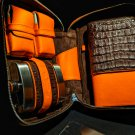 Brizard and Co Havana Traveler Tobacco Caiman and Orange Leather