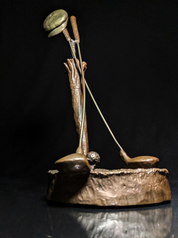 """Mark Hopkins Bronze Golf Sculpture """" Woods """""""