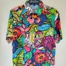 Robert Graham Truffle Shuffle NWT Tropical Floral Flamingo Short Sleeve- Medium