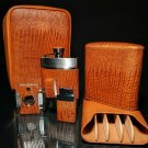 Brizard and Co Tan Lizard Leather Traveler with cutter and lighter NIB