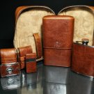 Brizard and Co Antique Saddle Leather Traveler with cutter and lighter