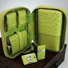 Brizard and Co Ostrich Matcha Green Traveler with cutter and lighter NIB