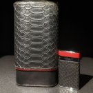 Brizard and Co Black  Python Pattern and Red Leather cigar case and lighter
