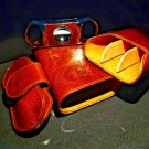 Brizard and Co Brown Antique Saddle Leather cigar case , cutter and  lighter