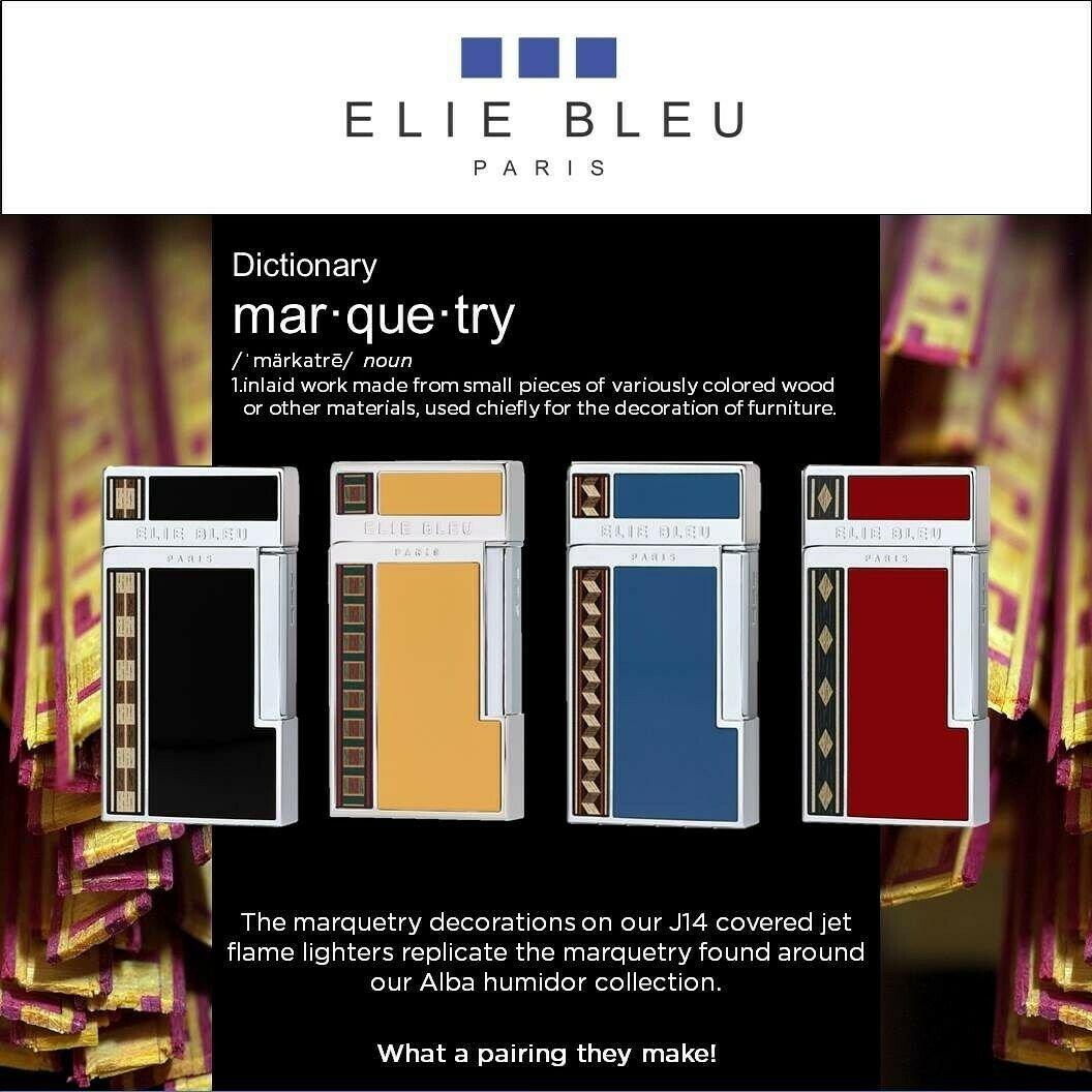 Elie Bleu J-14 Jet Flame Back Lacquer with Marquetry Pocket  Lighter   EBJ1451