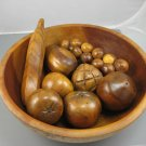 Wooden Hand Carved Monkey Pod Fruit in Bowl
